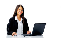 Laptop laugh woman Royalty Free Stock Photo