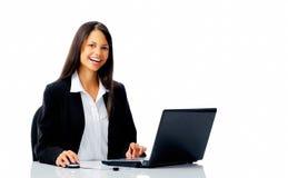 Laptop laugh woman Royalty Free Stock Photo