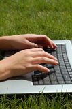 Laptop in the Lawn Stock Photography