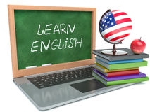 Laptop. Learn English concept. Isolated white background Royalty Free Stock Images