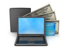 Laptop and leather wallet Stock Photography