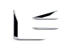 Laptop leeg het schermmodel, zijaanzicht, het 3d teruggeven stock illustratie
