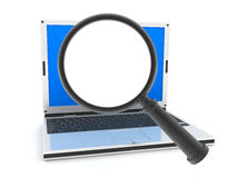 Laptop and lens (empty) Royalty Free Stock Image