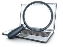Laptop and lens (empty) Stock Images