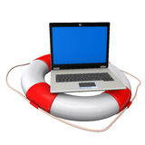 Laptop Lifebelt. Laptop with blue screen and lifebelt on the white background Stock Photos