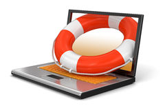 Laptop and Lifebuoy (clipping path included) Royalty Free Stock Photos