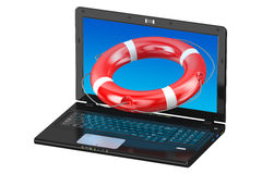 Laptop and lifebuoy Royalty Free Stock Image