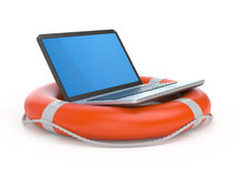 Laptop on lifebuoy. Over white, support, service concept Stock Photos