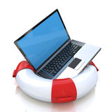 Laptop on lifebuoy over white, support, service concept Royalty Free Stock Images