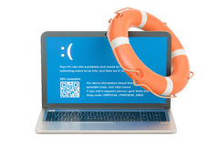 Laptop with lifebuoy, service and repair concept. 3D rendering Royalty Free Stock Photography
