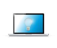 Laptop and lightbulb illustration design Stock Photos