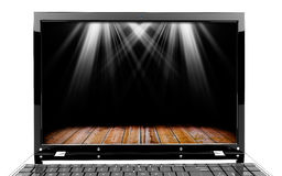 Laptop with lights Royalty Free Stock Photos