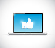 Laptop and like hand illustration design Stock Images