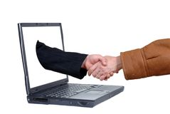 Laptop, on line business deal Stock Photos