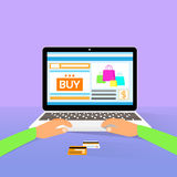 Laptop on line shopping hands type buy flat design Royalty Free Stock Photography