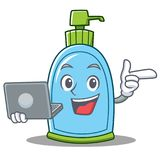With laptop liquid soap character cartoon royalty free illustration