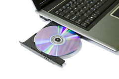 Laptop with Loaded DVD Drive Stock Photos