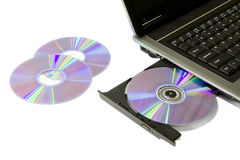 Laptop with Loaded DVD Drive Royalty Free Stock Image