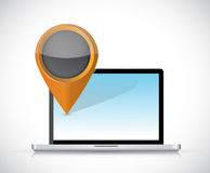 Laptop and locator pointer illustration design Stock Photo