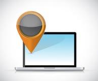Laptop and locator pointer illustration design Stock Photo
