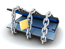 Laptop and lock Royalty Free Stock Photos