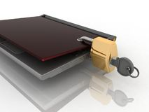 Laptop and lock Stock Photography