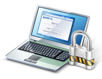 Laptop with lock. Royalty Free Stock Photos