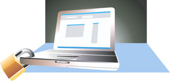 Laptop and lock Royalty Free Stock Photography