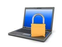 Laptop with lock Royalty Free Stock Photography