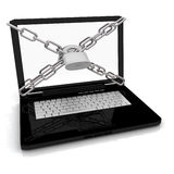Laptop with lock and chain Stock Images