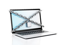 Laptop with lock and chain. Data security concept. Stock Photos