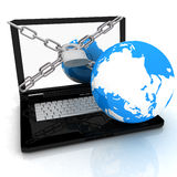 Laptop with lock, chain and earth Royalty Free Stock Image
