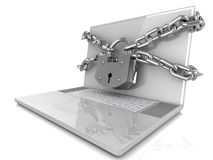 Laptop with lock and chain Royalty Free Stock Photography