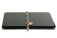 Laptop lock with chains. Isolated on the white background Royalty Free Stock Image