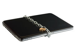 Laptop lock with chains. Isolated on the white background. Shooting at an angle Stock Photos