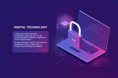 Laptop with lock, computer security isometric icon, data protection, safety in internet, protection personal information. Blockchain technology, encryption vector illustration