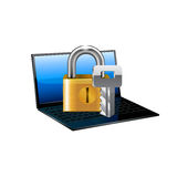 Laptop with lock. Vector. Royalty Free Stock Photography