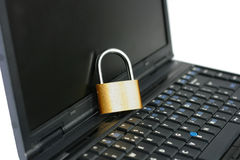 Laptop with locked closed padlock Royalty Free Stock Photos