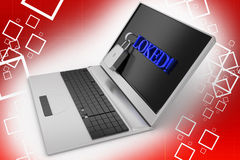 Laptop locked illustration Stock Photos