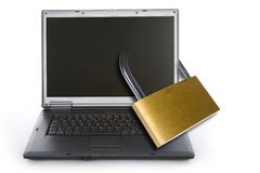 Laptop locked with padlock Royalty Free Stock Photo