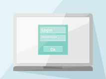 Laptop with login form Royalty Free Stock Photos
