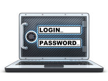 Laptop login and password Royalty Free Stock Photo
