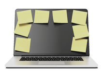 Laptop with a lot of yellow stick notes Stock Photography