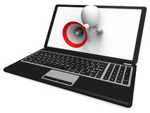 Laptop Loud Hailer Shows Internet Announcements Messages Or Info Royalty Free Stock Photo