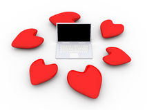 Laptop in Love Royalty Free Stock Photography
