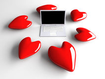 Laptop in Love Royalty Free Stock Photos