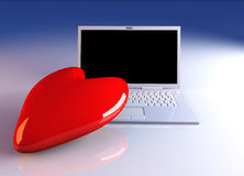 Laptop in Love Stock Photography