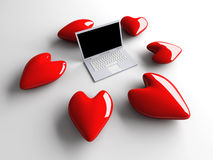 Laptop in Love Royalty Free Stock Images