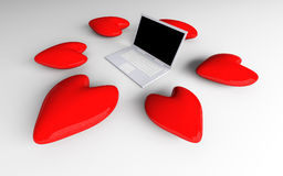 Laptop in Love Stock Photos