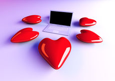 Laptop in Love Stock Images